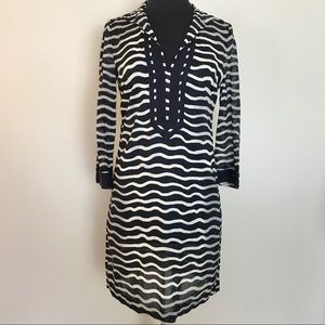 Tory Burch Navy Blue & White Stripe Tunic Dress